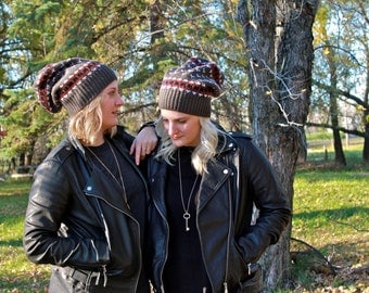 Grey & Red slouchy Toque