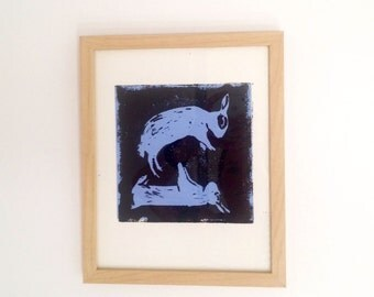 Dreaming Bunnies hand pulled linocut print, framed on 220 GSM German cotton rag paper, limited edition of 20