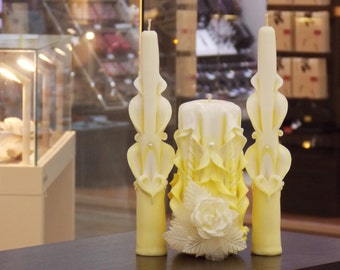 Carved unity candle-yellow lemon candles for wedding-wedding candles-lemon yellow-carved wedding Unity Candle