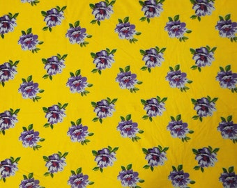 """40"""" Wide Indian Designer Dress Making Material Fabric Apparel Floral Yellow Pure Cotton Fabric Sewing Material Fabric By 1 Yard ZBC5102"""