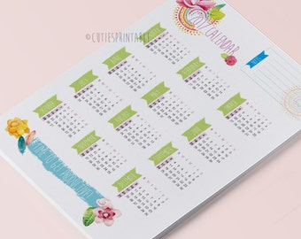 Printable One page yearly Calendar 2017, Ready to print calendar, Instant download calendar, Simple calendar - Letter size