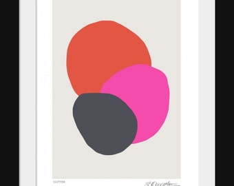Clutter, Contemporary Art Print, Fuchsia and Charcoal with Vibrant Red, Available in A4 and A3.