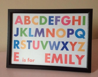 Personalised ABC alphabet A4 print Any colour child bedroom nursery gift Free UK Delivery