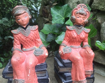 Vintage Pair of Asian Figure Chalkware Bookends