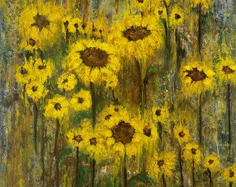 Wall Art Giclee Print of Sunflowers