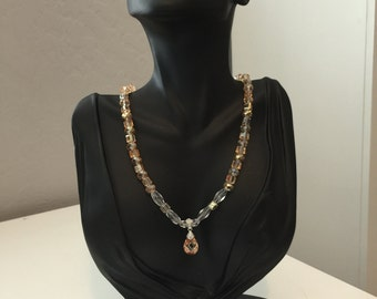 Amber and Clear Crystal Beaded Pendant Necklace