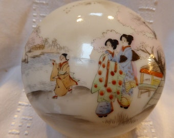 1924 Handpainted Jewelry or Trinket/Ring/ Candy/Box/Jar from Japan
