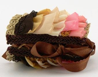 Colorful Fabric Wrist Cuff, Victorian Style Fabric Wrist Cuff,Boho Fabric Bracelet
