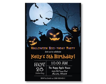 Halloween Birthday Invitation. Halloween Costume Party Invitiaton. Boy or Girl Bday Invite. Trick or Treat Invitation. Printable Digital.