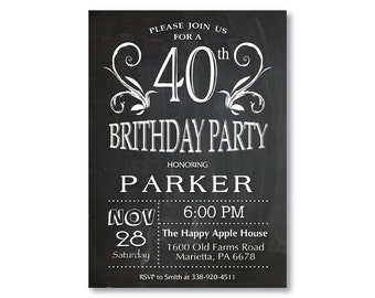 40th Birthday Invitation for men or women. Chalkboard 30th 50th 60th 70th 80th Any Age. Black and White. String Lights. Printable Digital.