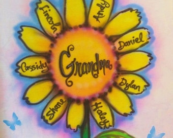 Grandma gift, nana gift, airbrushed t shirt, personlaized t shirt, sunflower clothing,  personalized gifts