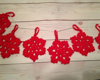 Crochet snowflakes decorations - Christmas decorations - holiday ornaments - Christmas tree ornaments - Red - set of 6 ~ 4-1/2 inches