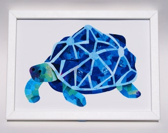 Tortoise print - Custom colours - Tortoise wall art - Cute animal print - Paper collage art - Nursery wall art - Childrens wall art