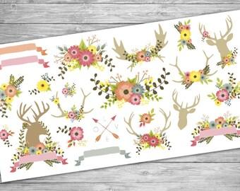 Cute Antler Stickers for Planners - Deer, moose, Antlers