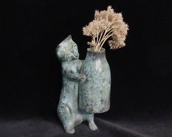 Bronze cat sculpture-- midcentury style cat with milk bottle