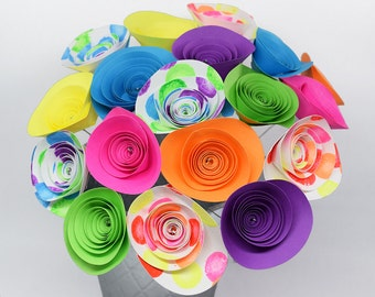 80s Party Decor- 18 Neon Paper Flowers, Neon Birthday Party Decorations, Neon Party Centerpiece, 80s Centerpiece, Pages To Petals Designs