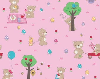 Teddy Bear Picnic Main Pink by Riley Blake Designs - Bears Trees Bumble Bees- Quilting Cotton Fabric - by the yard fat quarter half
