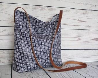 Asanoha crossbody bag, slouchy cross body, canvas bag, shoulder bag, real leather strap