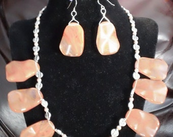 Chunky Pink Rhodocrosite Necklace and Earrings set