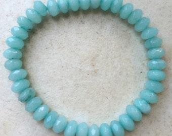 Stunning handmade genuine Brazilian Aquamarine semi precious gemstone faceted 5x8mm bracelet