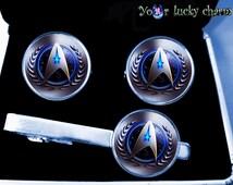 husband gift Star Trek Set Cufflinks and Tie clip suit accessories (Image under glass)  tie clip, men gift, wedding, groom, gift for Dad