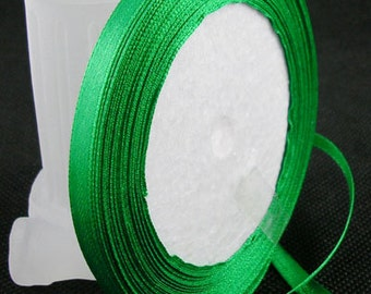 Green Satin Ribbon 6mm | 1 Roll - 25 Yards | Ribbon Reel | 0282
