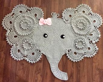 Large Crochet Elephant Rug