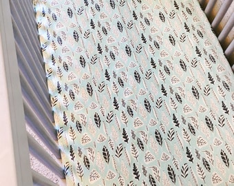 Light Blue Leaf Crib Sheet / fitted sheet / Teal / Leaves / macie and me / baby boy sheet / neutral / Whimsical / Modern / Gender Neutral