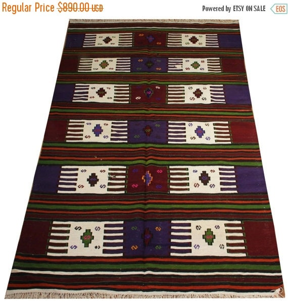 Vintage Mexican Zapotec Rug In Small Size With Stylized: ON SALE Vintage Kilim Rug Purple Burgundy White By