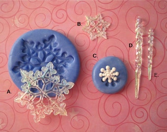 Snowflakes and Icicle Molds - Silicone Molds - Frozen - ique Mold - Food Safe Mold - Fondant Mold - Cake Decorating Molds - Molds