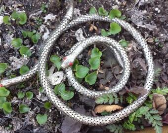 Vintage Art Deco Silver Snake Cobra Necklace Bracelet Set