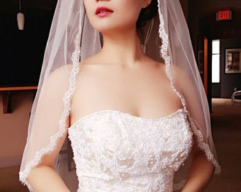 Andrea Bridal Wedding Veil light Ivory Scalloped Eyelash Lace with Pearls beaded Waist Length With Comb Best Seller Ready to Ship