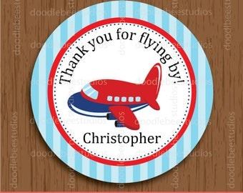 Personalized Airplane Favor Tags, Airplane Tags, Airplane Labels, Airplane Printables, Airplane Stickers, Aeroplane Labels, Plane Favor Tags