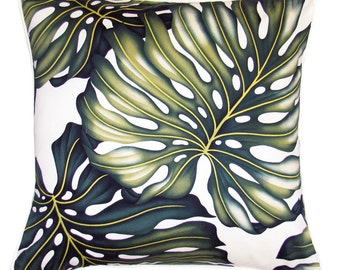 Cushion Tropical Monstera Leaf Cotton Twill - Double Sided
