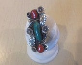 Sterling Silver Vintage Navajo Ring with Turquoise and Coral