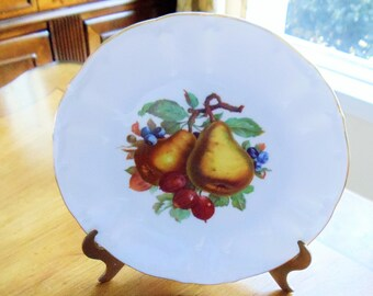 Vintage Bareuther Waldsassen Bavaria-Germany Fruit Luncheon Plate, Hand-Painted Gold Trim Fruit Design Plate, Signed Plate,Salad Plate,1960s