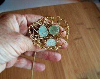 Genuine sea glass wire wrapped sun catcher nest plant poke (470)