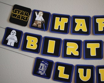Star Wars Lego Banner - Star Wars Party- Lego Party
