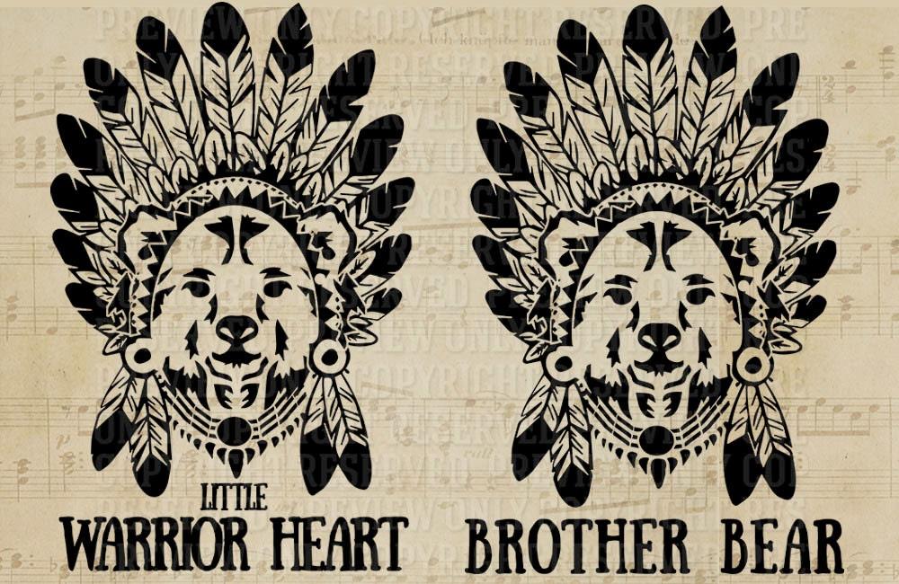 Brother Bear Bear Svg Bohemian Bear Warrior Heat Brave