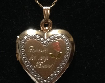 10 kt gold heart locket and gold chain 19 inches long