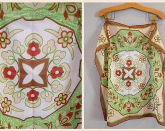 SALE----Vintage / Floral Green Brown Cream Scarf / Head Wrap / Accessory