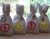 "DC Comics The Flash Small Hessian Burlap Wedding Birthday Party Geeky Gift Favour Bags Pouches W9 x H15cm (3.5"" x 6"")"