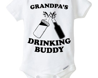 Grandpa's Drinking Buddy Onesie Design, SVG, DXF, EPS Vector files for use with Cricut or Silhouette Vinyl Cutting Machines.