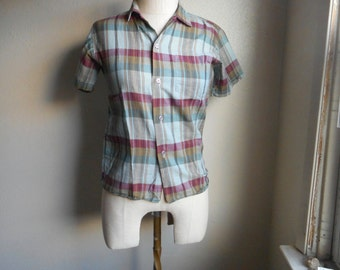 Vintage 50s plaid K6 shirt sanforized short sleeved button up collar oxford shirt