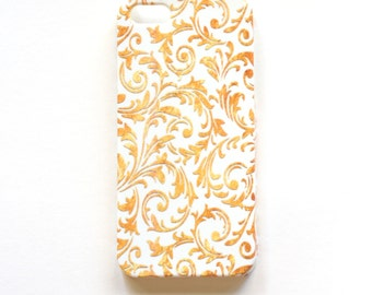Gold and White Phone Case for iPhone 5/5S, Gold Flourish Cell Phone case