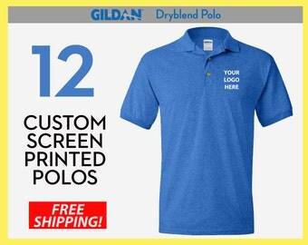 12 Custom Screen Printed Polos