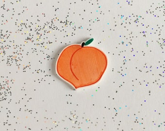 Peach Pin [brooch lapel pin orange]
