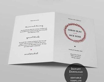 ceremony programs, wedding, instant download, ceremony program, printable program, order of service, fold program,rustic,woodland,wreath, 36