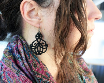 Free Standing Lace Embroidered Earrings