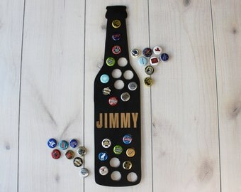 Beer Lover Gift, Personalized Bottle Cap Display, Beer Cap Map, Beer Gift for Him, Husband Gift, Your Name, Beer Art, Black --MAP-CHK-JMY
